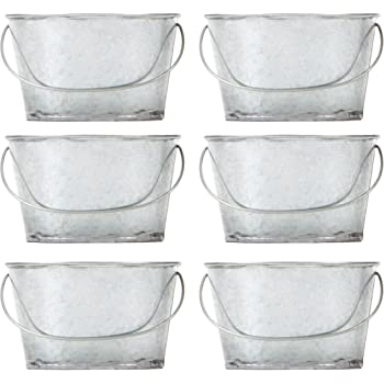 Hosley Set of 6 Farmhouse Mini Oval Tub Galvanized Planter 3.8 Inches Long Ideal for DIY Craft and Floral Projects Gifts Baskets Party Favors P9