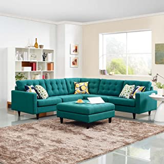 Modway Empress Mid-Century Modern Upholstered Fabric Sectional Sofa Set In Teal