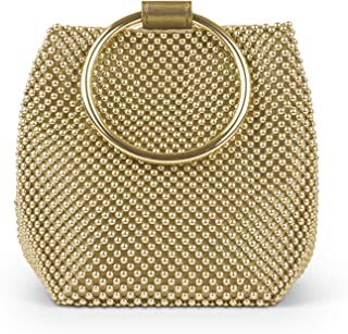 Jessica McClintock Womens Gwen Ball Mesh Ring Wristlet Pouch Clutch