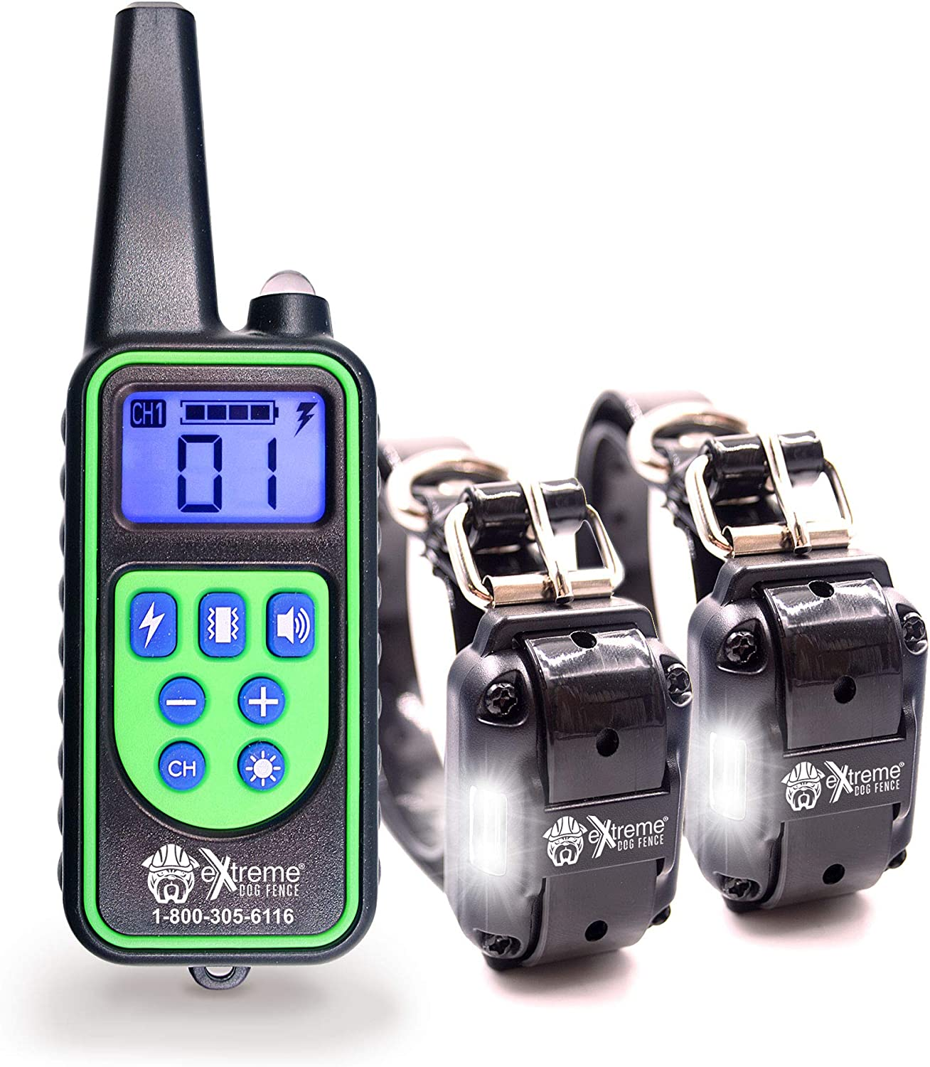 Remote Control Dog Shock Collar for Small Dogs or Big Dogs 99 Level Correcting, Vibration, o Tone Only Recharable Remote and Waterprova Collar Kit for 2 Dogs