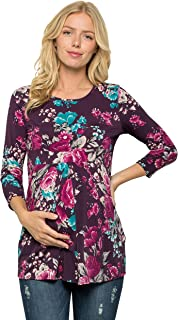 My Bump Women's 3/4 SLV Front Pleated Maternity Top(Made in USA)