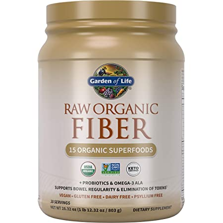 Garden of Life Fiber Supplement, Raw Organic Fiber Powder - 30 Servings, 15 Organic Superfoods, Probiotics and Omega-3 ALA, 4g Soluble Fiber, 5g Insoluble Fiber for Regularity, Psyllium Free Fiber