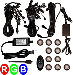 Zip-LED Deck Light LED Kit in 316L Stainless Steel, 12V Low Voltage, Color Changing RGB, IP67 Waterproof, Indoor and Outdoor use in Bathrooms, Kitchens, Landscapes, Pathways, Stairs, Steps and Soffits