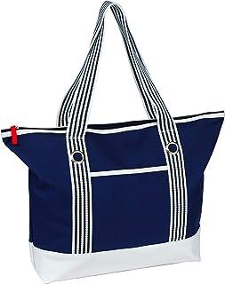 noTrash2003 Trendige Strandtasche/Weekender/Shopper/Badetasche-blau/weiß marine im maritimen Stil