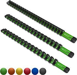 Olsa Tools 3 Pcs Kit Aluminum Socket Organizer   1/4-Inch Drive x 24 Clips, 3/8-Inch Drive x 18 Clips, 1/2-Inch Drive x 16 Clips   Premium Quality Tool Holder (Green)