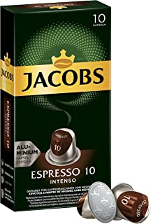 Jacobs Espresso 10Intenso, Nespresso Compatible Coffee Capsules, Pack of 10