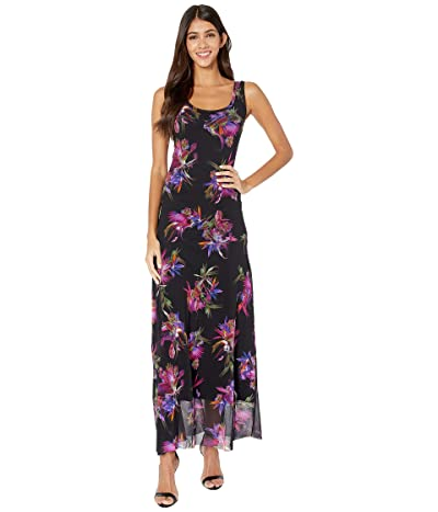 FUZZI Sleeveless Tank Uccello Del Paradiso Print Dress (Nero) Women
