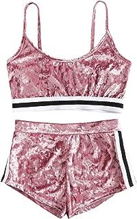 Women's 2 Piece Set Halter Crop Top and Shorts Set