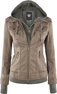 Lock and Love Women's Hooded Faux Leather Moto Biker...