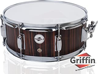 Snare Drum by Griffin | Black Hickory PVC Glossy Finish on Poplar Wood Shell 14