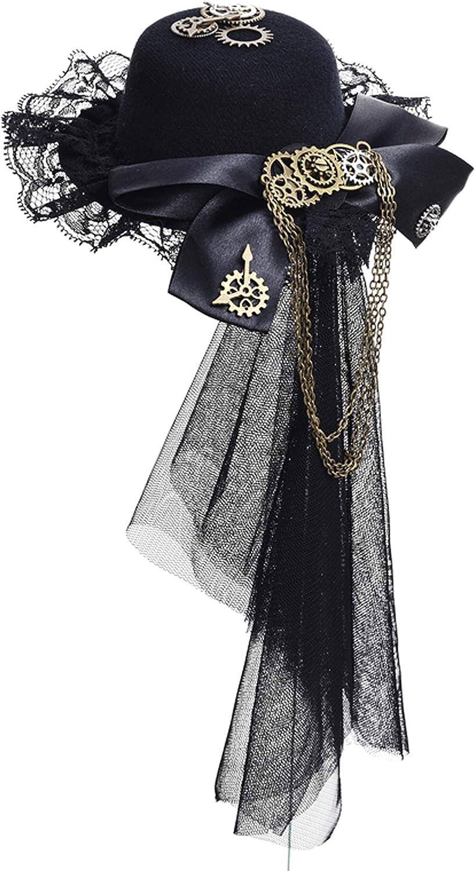 Womens Girls Vintage Lace Veil Tassels Steampunk Hair Clip Gears Bow-tie Mini Top Hat Gothic Lolita Fedoras Headwear