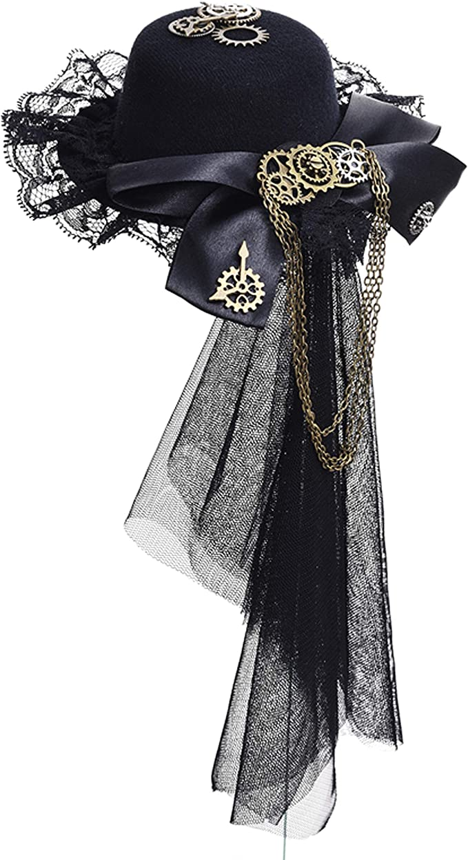 Steampunk Accessories | Goggles, Gears, Glasses, Guns, Mask Womens Girls Vintage Lace Veil Tassels Steampunk Hair Clip Gears Bow-tie Mini Top Hat Gothic Lolita Fedoras Headwear  AT vintagedancer.com
