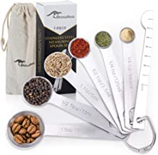 RhinoRoo Stainless Steel Measuring Spoons Set of 7 - Premium Quality Tablespoon to 1/8 Teaspoon - Measure Baking and Cooki...