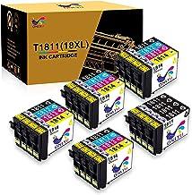 ONLYU Reemplazo de Cartuchos de Tinta compatibles para Epson 18XL T1811-T1814 para Epson Expression Home XP-202 XP-205 XP-212 XP-215 XP-225 XP-302 XP-305 XP-315 XP-325 XP-402 XP- 405 (Paquete de 20)