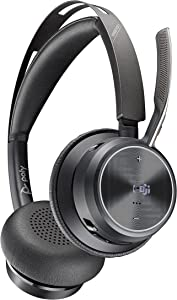 Poly - Voyager Focus 2 Office USB-A(Plantronics) - Bluetooth Stereo Headset with Boom Mic - USB-A PC/Mac/Desk Phone Compatible - Active Noise Canceling - Works with Teams (Certified), Zoom & More
