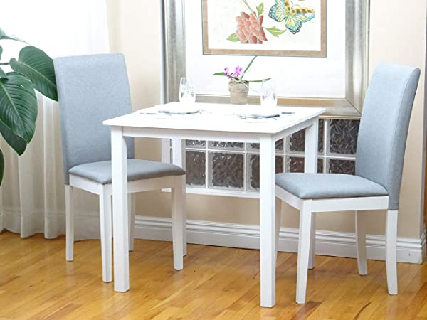 SunBear Furniture Dining Kitchen Set Of 3 Square Table And 2 Side Fallabella Chairs Classic Solid Wood In White Finish