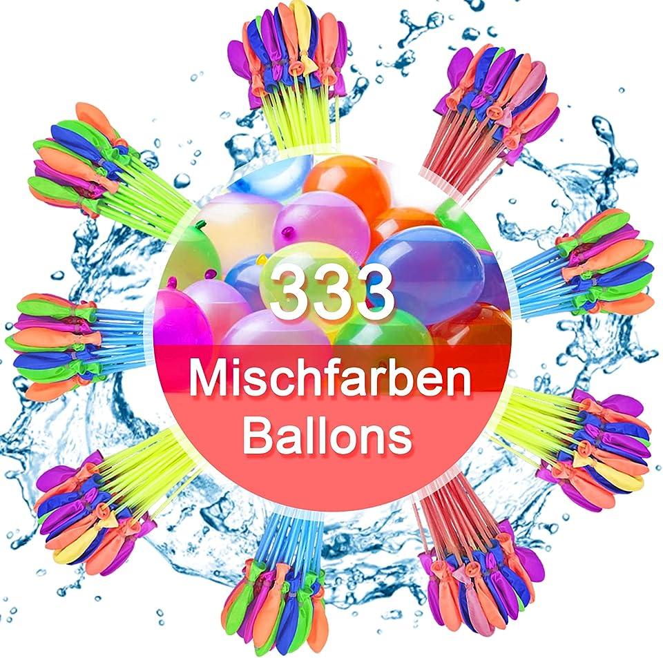 Lunriwis Wasserbomben 333 Stück,Schnellfüller Wasserballons Selbstschließend Magic Balloons 9 Bündel,Mehrfarbig Wasserbomben Luftballons Bunt Gemischt für Geburtstagsfeier Strand Party