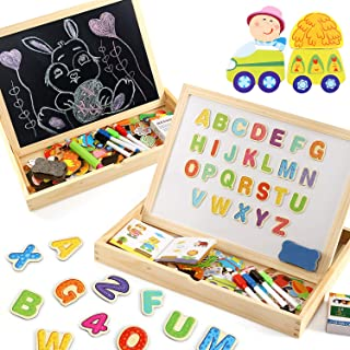 Lewo Wooden Large Educational Toys Magnetic Letters Numbers Animals Learning Puzzle Games Drawing Board with Writing Drawing Doodle Side Dry Erase Board for Kids (Puzzle Game)