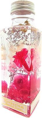 バラとカーネーション 日本製ハーバリウム プリザーブドフラワーLira 高さ 12.5㎝ ギフト プレゼント (ピンク)