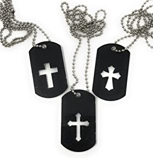 Sea View Treasures 24 Bulk Cross Dog Tag Necklace Assortment - Stainless Steel ID Charms