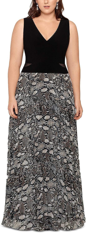Xscape Womens Plus Printed Sheer Evening Dress