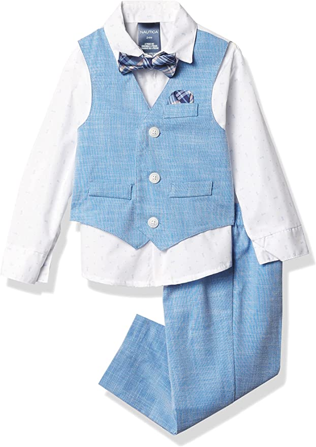 Kids 1950s Clothing & Costumes: Girls, Boys, Toddlers Nautica Baby Boys 4-Piece Set with Dress Shirts Vests Pants and Bow Ties  AT vintagedancer.com