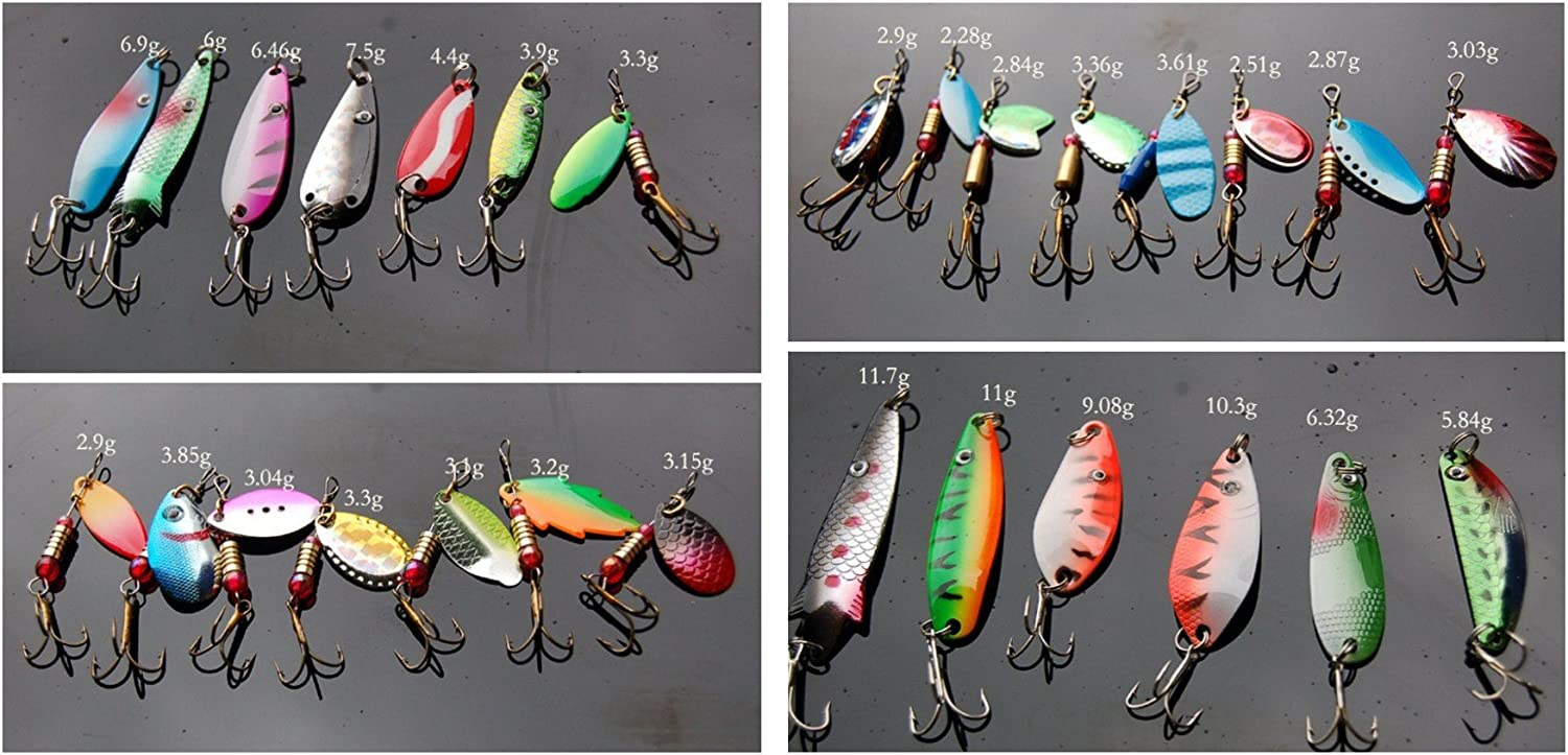 30pcs Box Metal Spoon Fishing Lures with Sharp Treble Hooks Assorted Inline Spinner Baits Artificial Lures for Largemouth Bass Trout Salmon