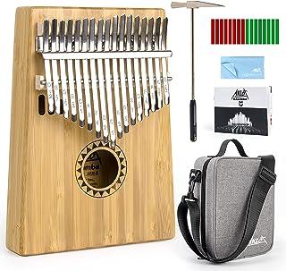 Aklot Bamboo Kalimba 17 Key Finger Piano Marib Mahogany with Padded Gig Bag Tuner Hammer
