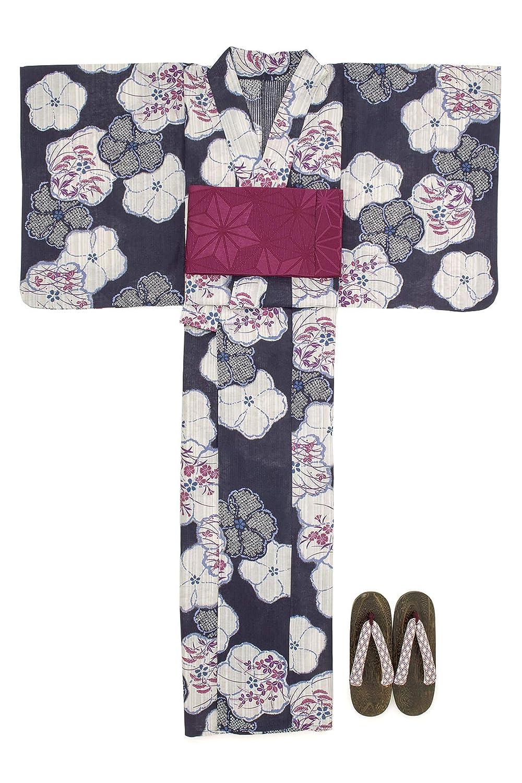 (ソウビエン) 浴衣 セット レディース 濃紺色 ベージュ 木槿 撫子 萩 鹿の子 綿麻 半幅帯 マクレ ボヌールセゾン