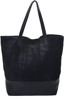 6f7454b99a839  Keira  Designer Tote Bag in Black and Metallic Black Italian Nappa Leather  Made in ·