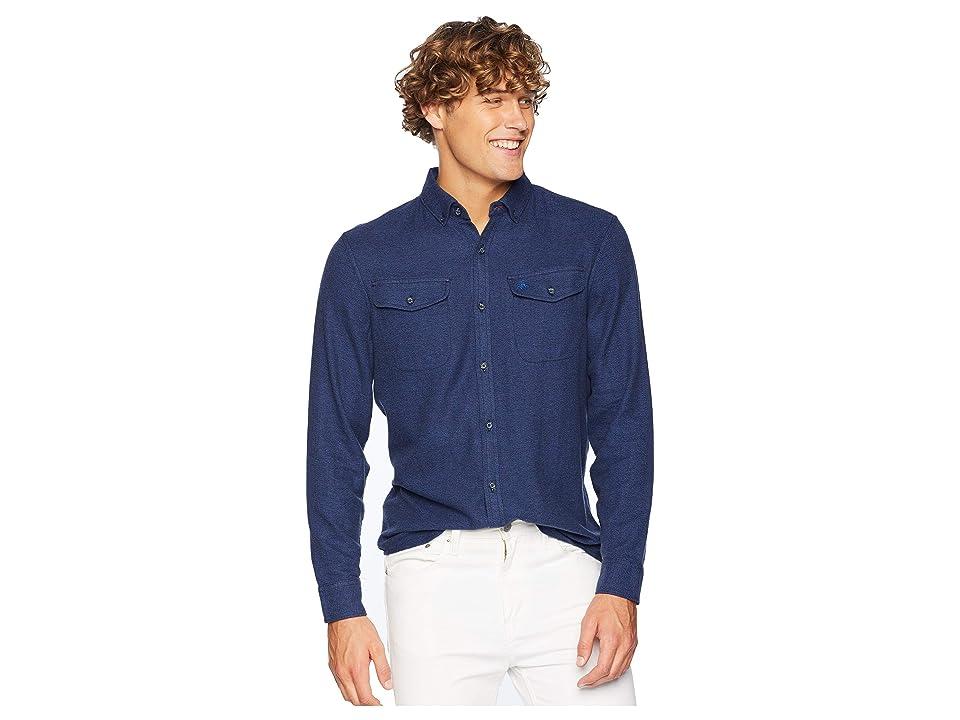 Original Penguin Long Sleeve Jasper Flannel Stretch Shirt (Classic Blue) Men