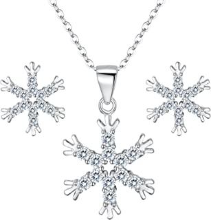 Clearine Women 925 Sterling Silver Cubic Zirconia Snowflake Pendant Necklace Stud Earrings Set Clear
