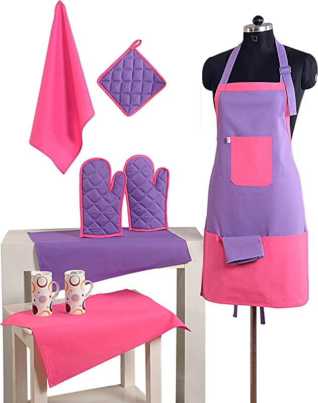 2 Color Cotton Chef S Apron Set With Pot Holder Oven Mitts Napkins Perfect Home Kitchen Gift Or Bridal Shower Gift