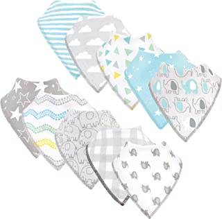Luvable Friends Baby Girls' Basic Cotton Bandana Bib Set