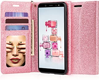 J&D Case Compatible for Galaxy A6 2018 Case, [RFID Blocking] [Mirror Function] Shock Resistant Flip Cover Wallet Case with Card Slots and Makeup Mirror for Samsung Galaxy A6 2018 Wallet Case - Pink