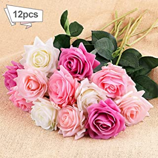DIGIROOT Artificial Flowers 12pcs Real Touch Silk Fake Flower Roses with 4 Colors for DIY Home, Wedding, Office