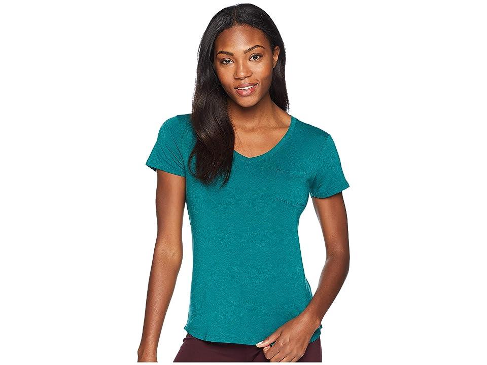 Prana Foundation Short Sleeve V-Neck Top (True Teal Heather) Women