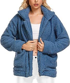 Abrigo de mujer casual con solapa de forro polar difuso de piel sintética con cremallera abrigos cálidos de invierno overw...