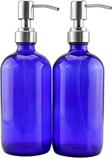 16-Ounce Cobalt Blue Glass Bottles w/Stainless Steel Pumps (2-Pack), Soap Dispenser w/Lotion Pumps for Essential Oil Bottles, Lotions, Liquid Soap, and More