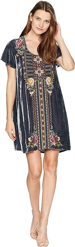Cherelle Velvet Flutter Sleeve Tunic Dress