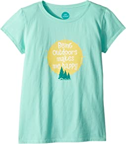 Life is Good Kids Outdoors Makes Me Happy Crusher Tee (Little Kids/Big Kids)