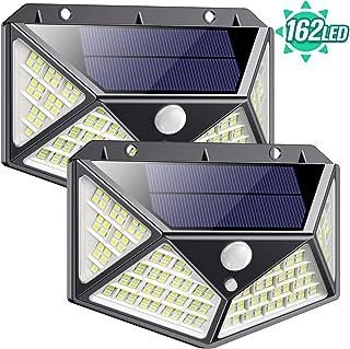 Luz Solar Exterior 162 LED- QTshine【2020 Ultima version】Foco Solar con Sensor de Movimiento Gran Angular de Iluminacion 270º Lampara Solar Impermeable 3 Inteligente Modos Para Jardin [ 2 Paquete ]