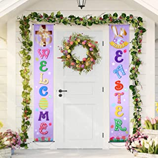 Blulu Easter Decoration Set Easter Porch Sign Welcome Happy Easter Banner Easter Poster Door Hanger for Spring Indoor/Outdoor Easter Door Decoration Party (Light Purple)