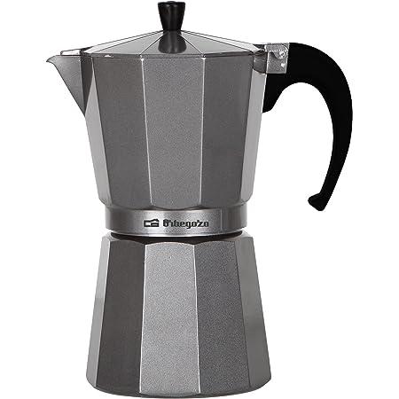 Orbegozo KFS 920 - Cafetera italiana de aluminio, 9 tazas de capacidad, mango ergonómico, válvula de seguridad, filtro desmontable