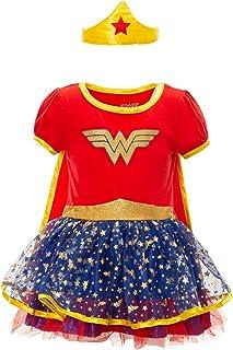 DC Comics Vestido de Wonder Woman con Capa y Tiara Dorada - Disfraz de Fantasía de Superheroína para Niña, Rojo 6-7 Años
