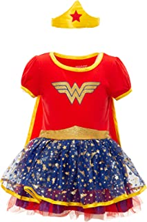 Wonder Woman Girls' Costume Dress with Tiara & Cape