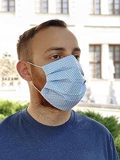 Lilind Maschera per il viso alla Moda, Tessuto 100% Cotone, Riutilizzabile, Traspirante, Handmade, Motivo a Punti blu