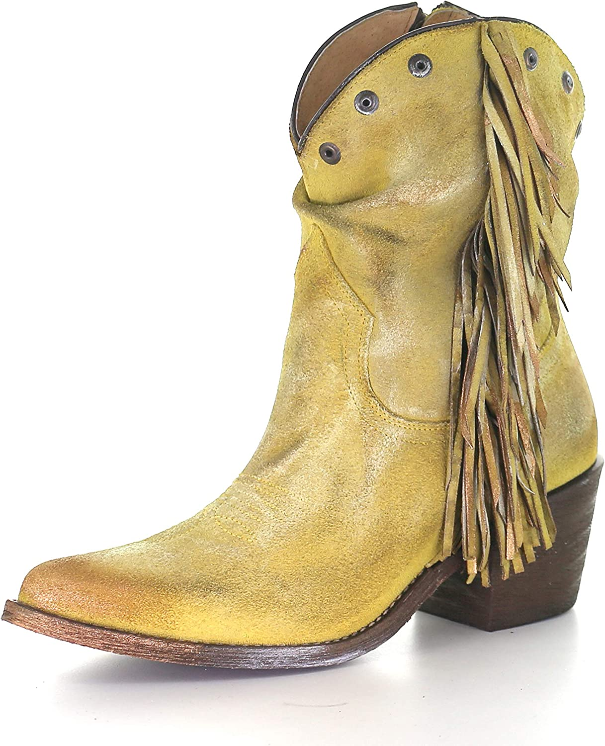 Corral Boots Yellow Stud And Fringe Ankle Boots Q0168