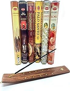 Hem Incense Sticks Variety Pack- (6 Types, 120 Scent Sticks) | Palo Santo Incense Sticks, Cinnamon Incense, Sandalwood Incense, Oud Incense, Rose Incense & Jasmine Incense Stick