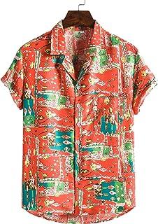 Verano otoño Hombres Camisa Transpirable Hombre Adulto Creativo geométrico Planta impresión Manga Corta Solapa Top Blusa C...